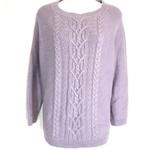 TALBOTS Cable Knit Lavender Cotton Sweater ~sz 1X